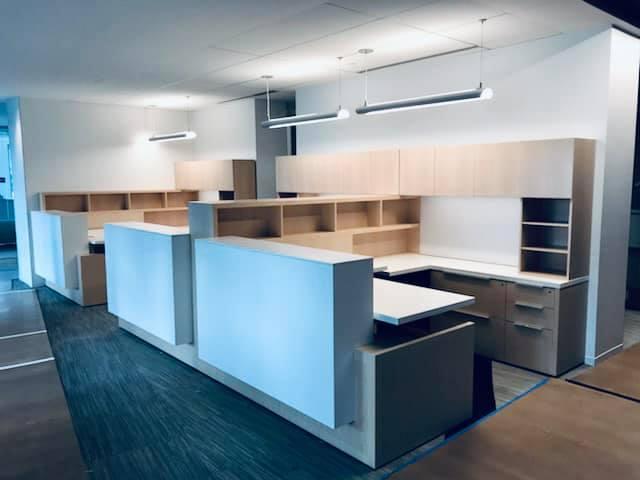 Desk with multiple shelves