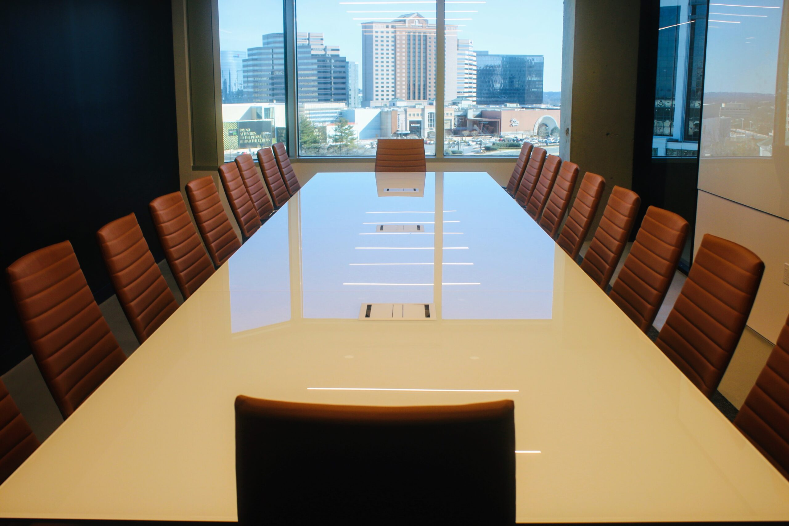 Conference table with window behind
