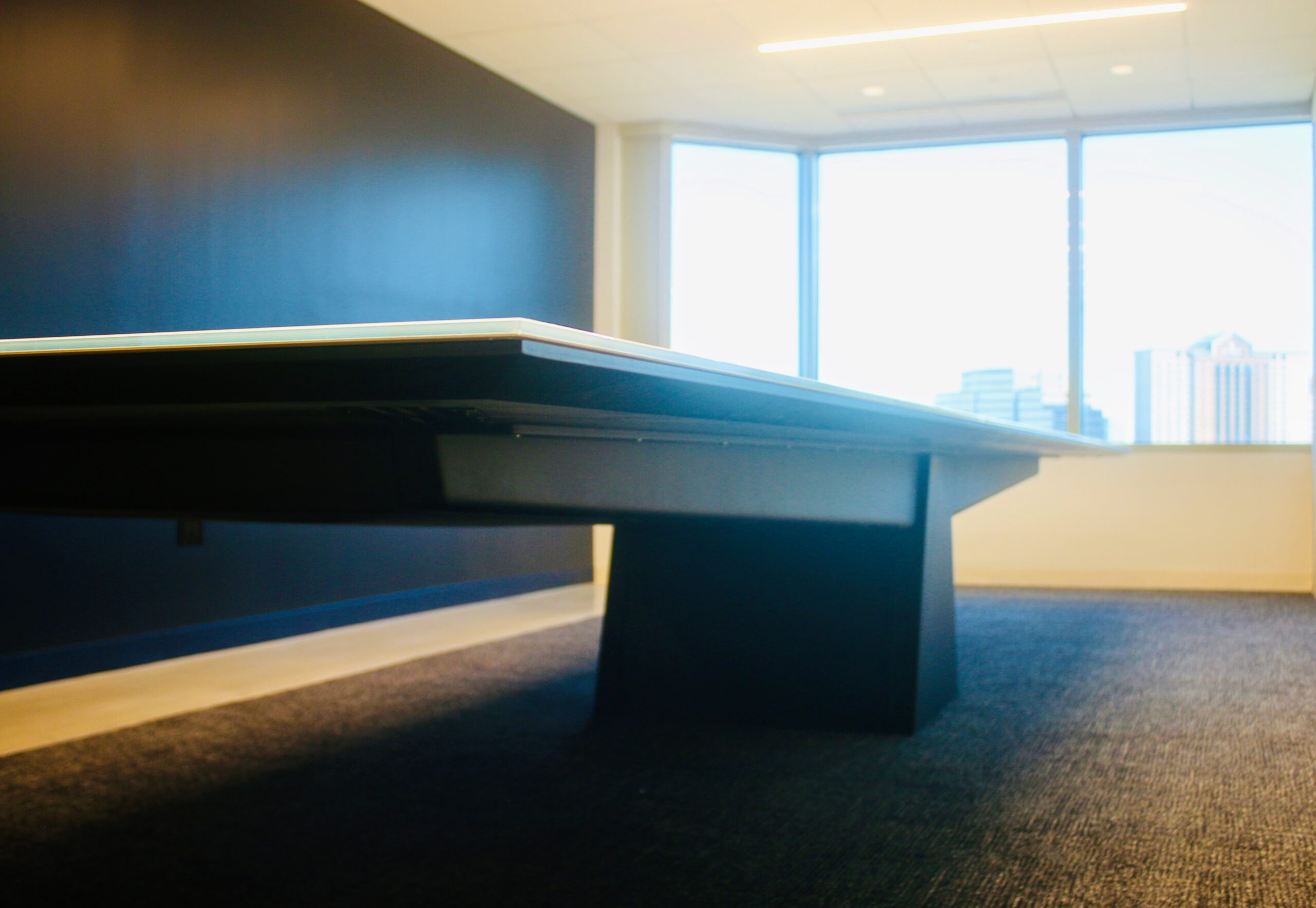 Low angle photo of conference table