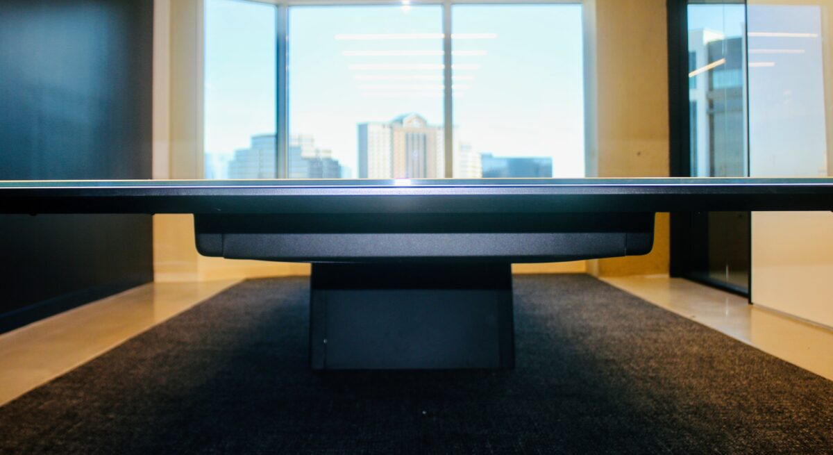 Eye level with conference table looking out window